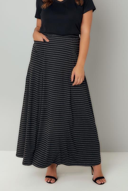 Faldas largas Tallas Grandes Falda maxi con bolsillos rayas negras y grises