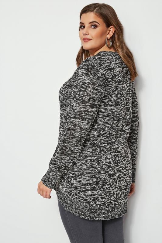 Black & Grey Twist Knitted Jumper