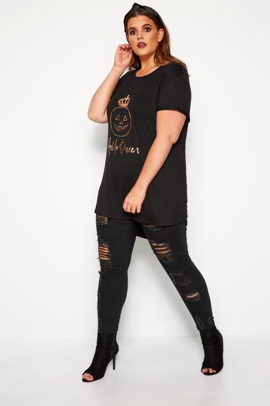 Black 'HalloQueen' Slogan T-shirt