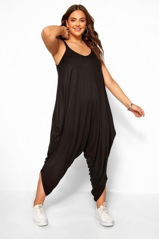 Plus Size Bracelets Black Harem Jersey Jumpsuit