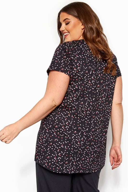 Black Heart Print Pyjama Top