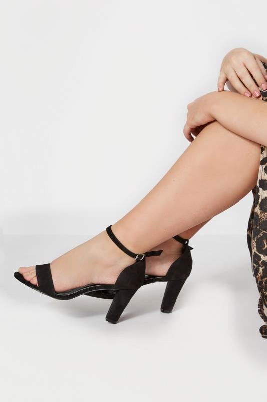 Plus Size Sandals Black Heeled Sandals In EEE Fit