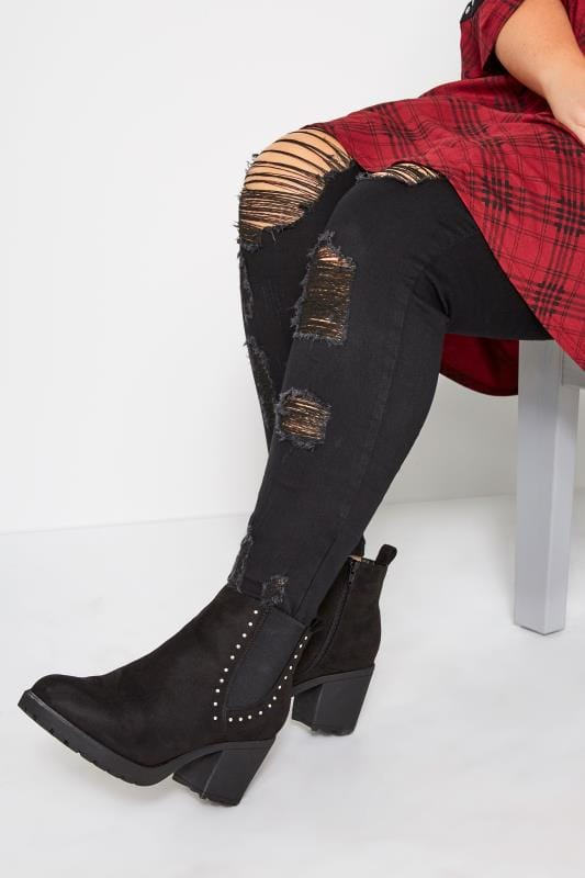 Wide Fit Ankle Boots Black Heeled Studded Chelsea Boots In Extra Wide Fit