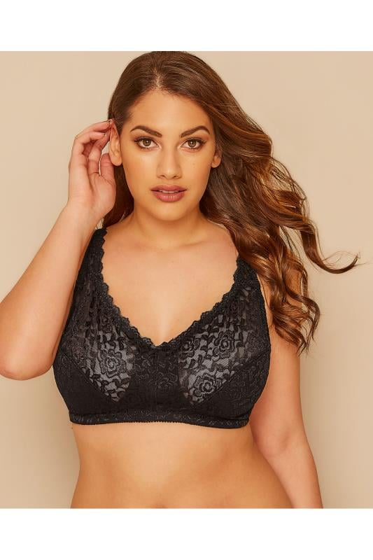 Plus Size Non-Wired Bras Black Hi Shine Lace Non-Wired Bra