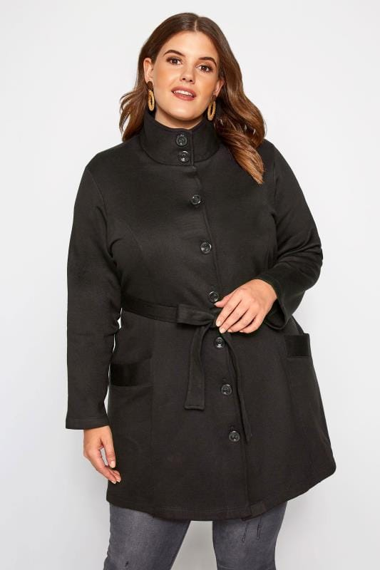 Plus Size Jackets Black High Collar Jersey Coat