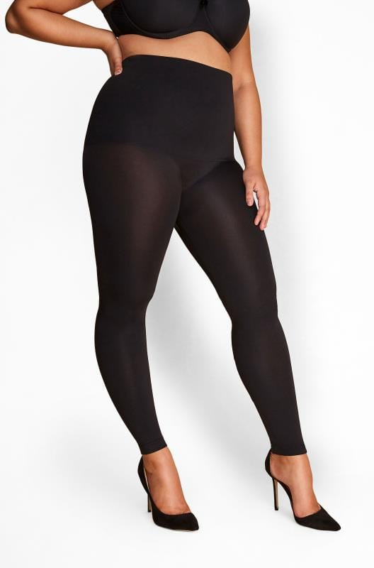 Plus Size Shapewear Black High Waist Shaping Footless Tights