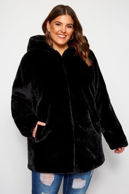 Plus Size Jackets Black Hooded Faux Fur Jacket