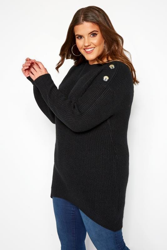 Plus Size Jumpers Black Horn Button Knitted Jumper