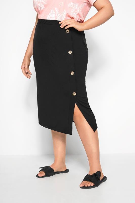Faldas midi Tallas Grandes Falda midi negra botones