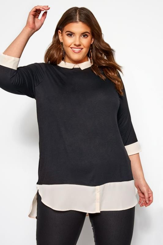 Plus Size 2 In 1 Tops Black & Ivory 2-in-1 Top