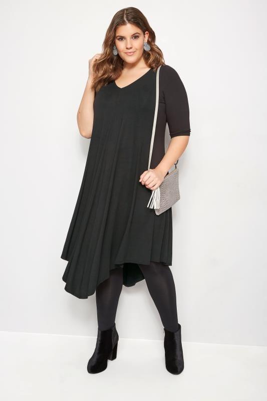 Black Jersey Asymmetric Dress