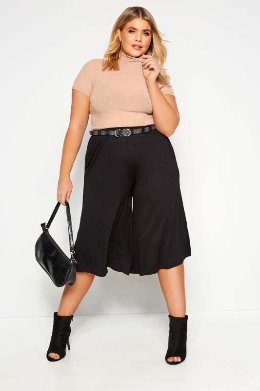 Plus-Größen Culottes Black Jersey Culottes