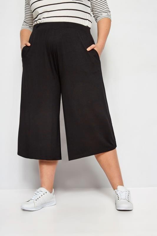 Plus Size Culottes Black Jersey Culottes