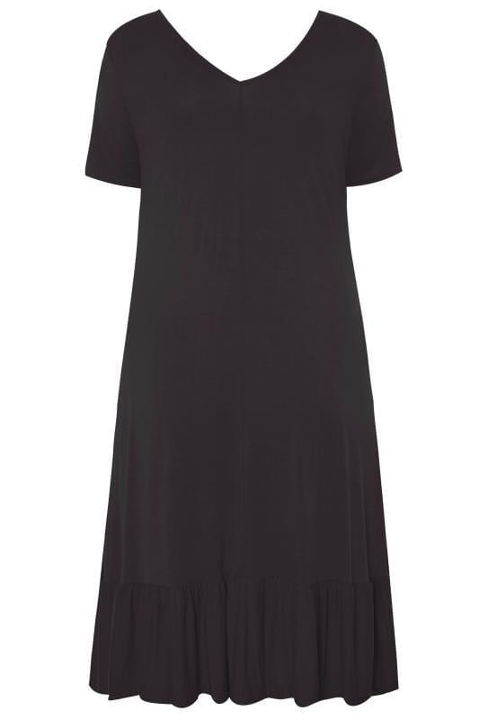 Black Jersey Frill Smock Dress