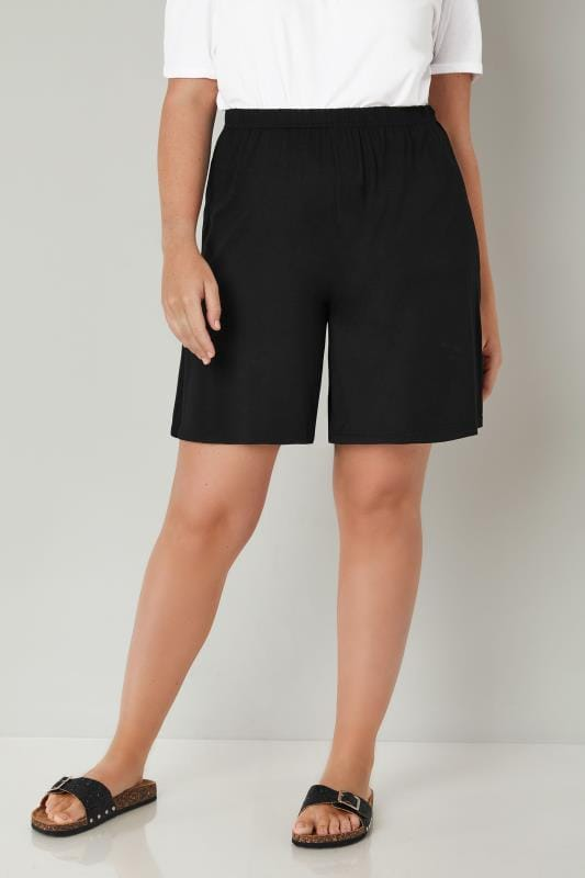 Black Jersey Pull On Shorts