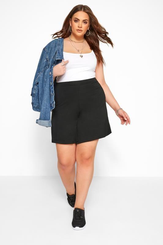 Black Jersey Pull On Shorts