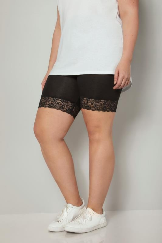 Plus Size Jersey Shorts Black Soft Touch Shorts With Lace Trim