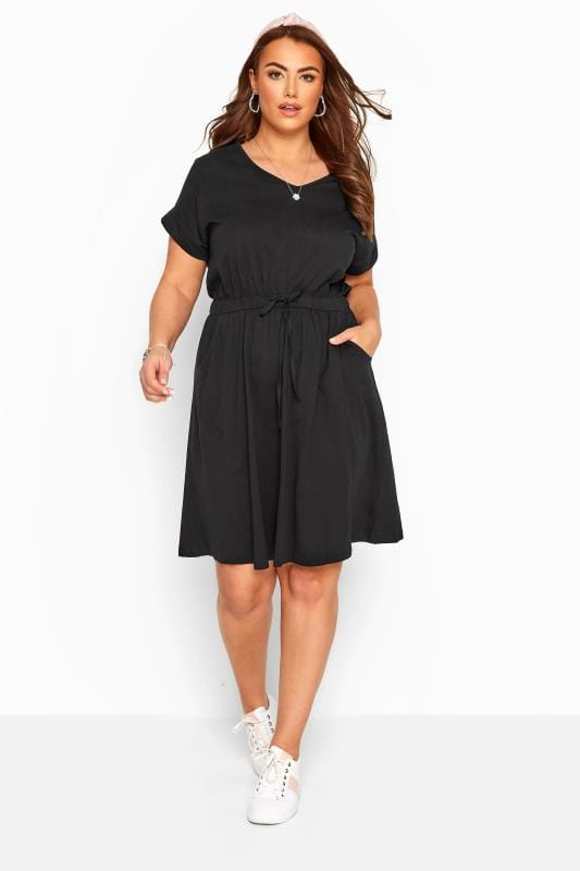 Plus Size Skater Dresses Black Jersey T-Shirt Dress With Drawstring Waist