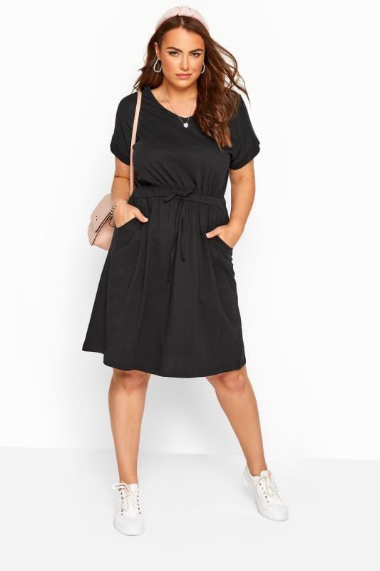 Black Jersey T-Shirt Dress With Drawstring Waist