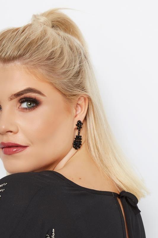 Plus Size Jewellery dla puszystych Black Jewel Earrings
