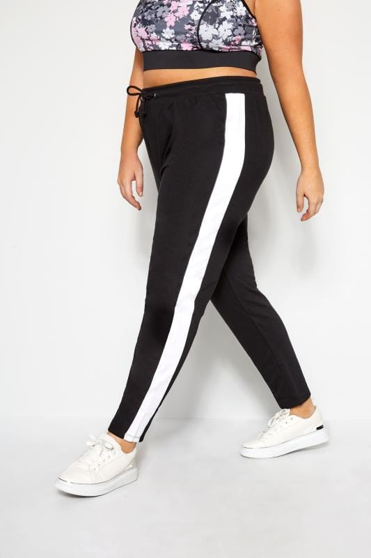 Plus Size Joggers Black Joggers With White Side Stripe