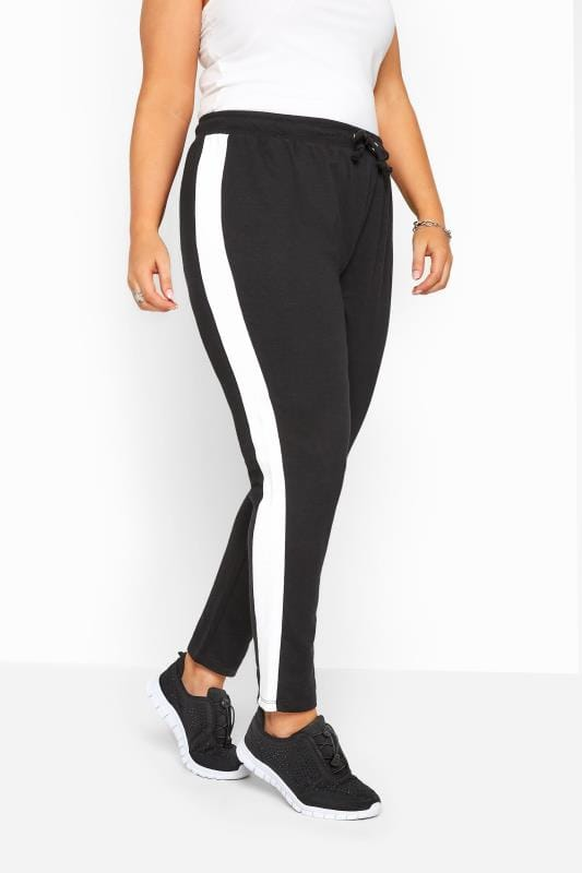Black Joggers With White Side Stripe