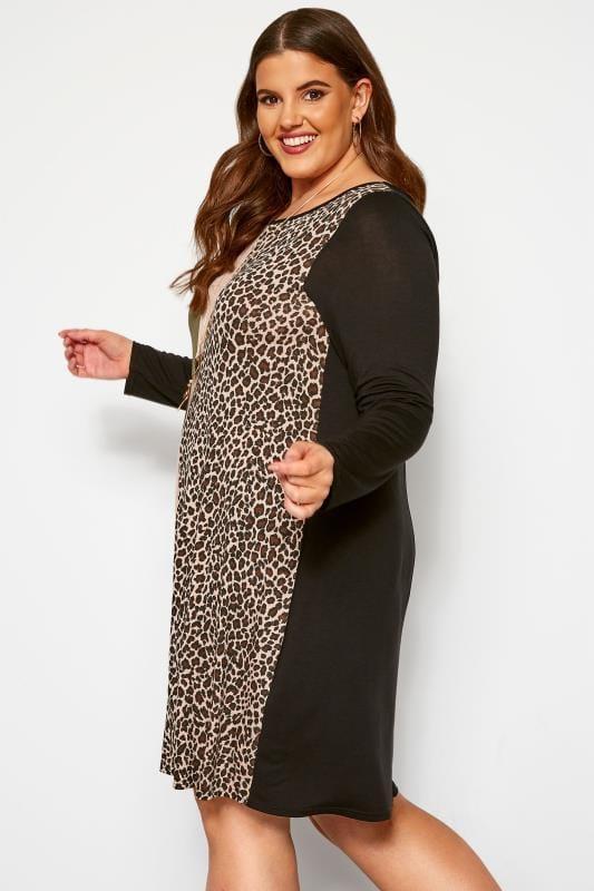 Black & Khaki Animal Stripe Print Dress
