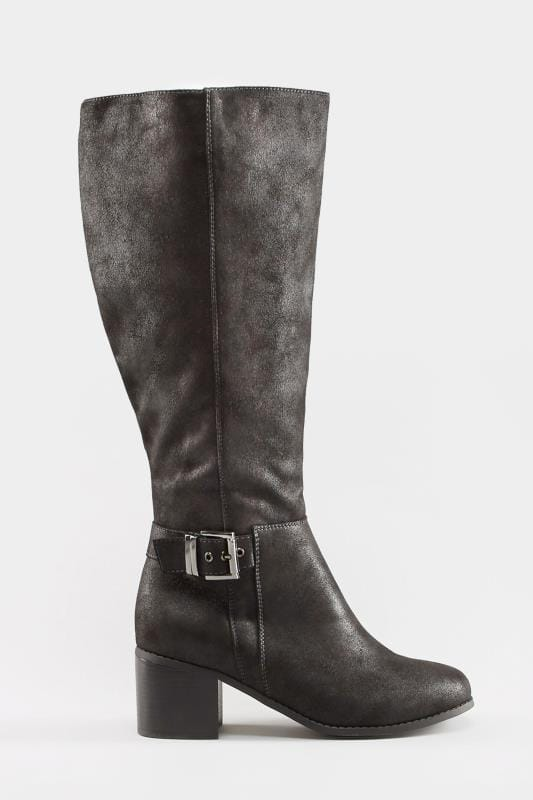 low price premium selection low price Black Knee High Buckle Heeled Boots In Extra Wide Fit | Yours Clothing