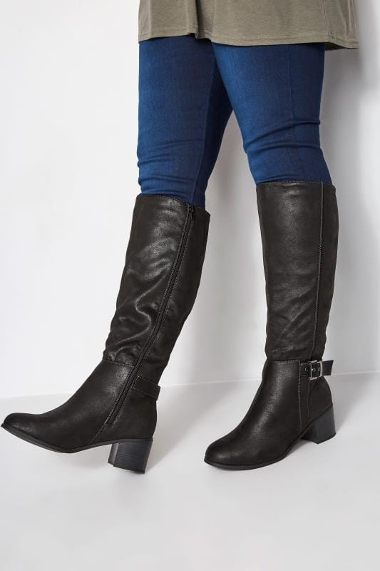 Wide Fit Boots Black Knee High Buckle Heeled Boots In Extra Wide Fit
