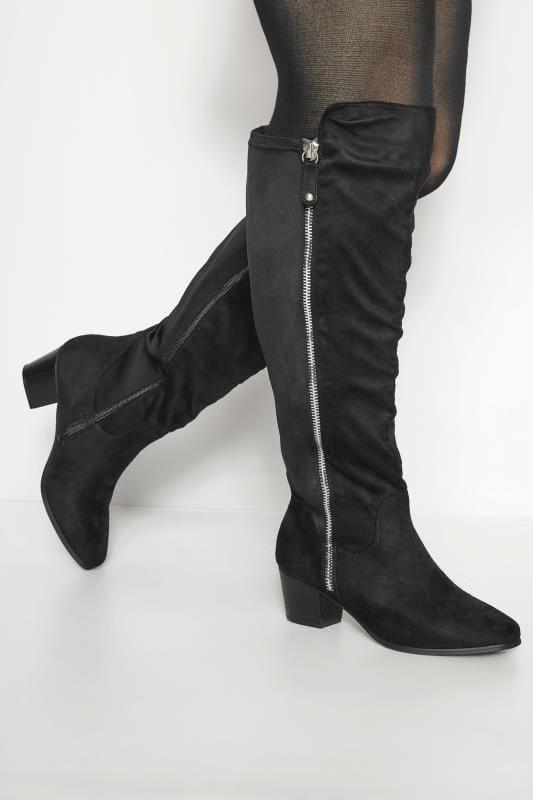 Black Knee High Zip Heeled Boots In EEE Fit