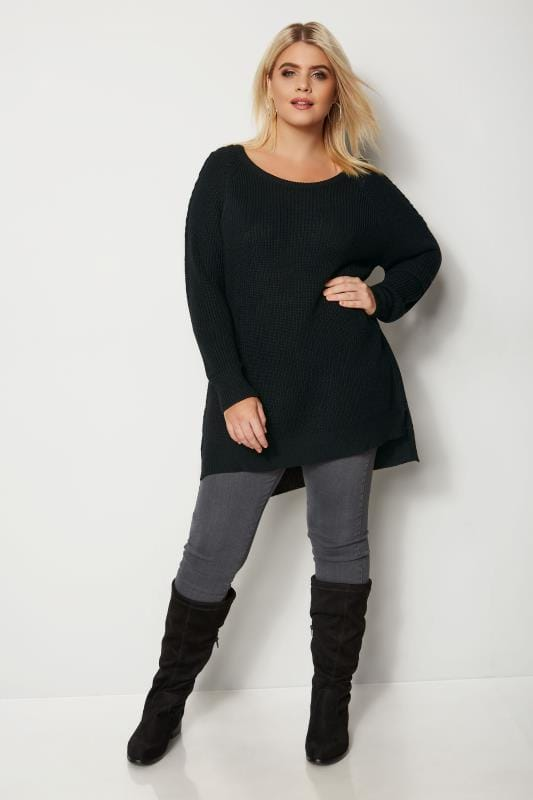 Black Knitted Jumper With Lattice Shoulders