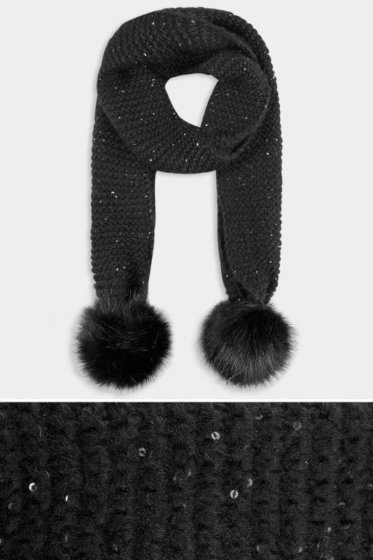 Black Knitted Sequin Pom Pom Scarf