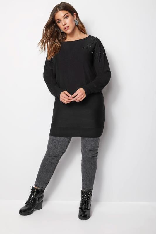 Black Knitted Stud Jumper