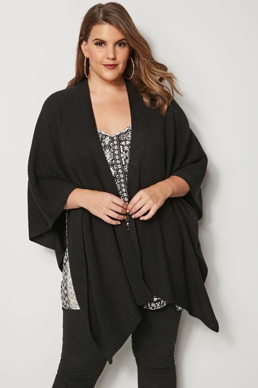 Mantones y capas Tallas Grandes Poncho abierto de punto color negro