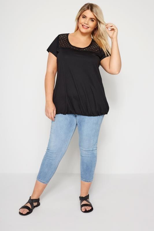 Black Lace Bubble Hem Top