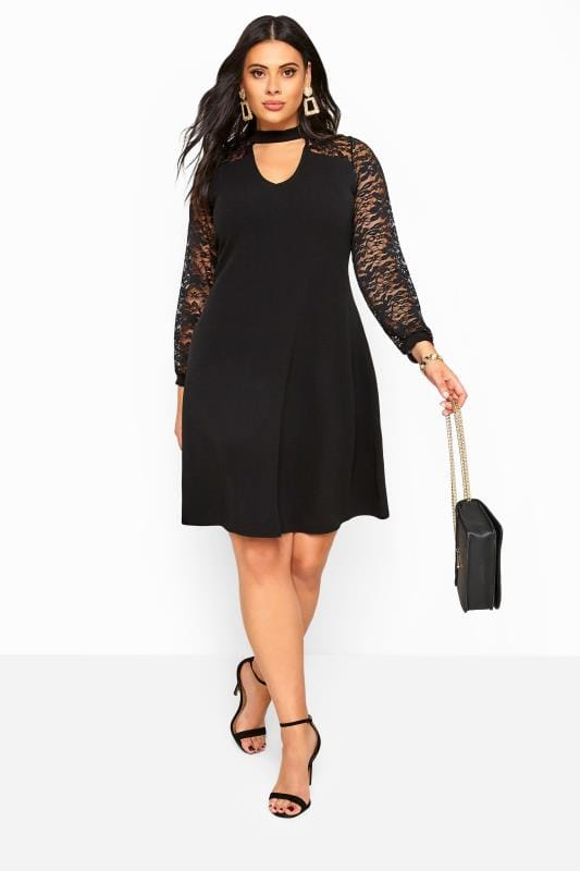 Plus Size Black Dresses Black Lace Choker Dress