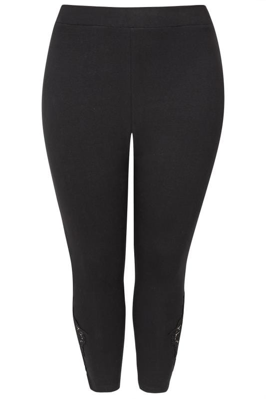Black Lace Embroidered Cropped Leggings