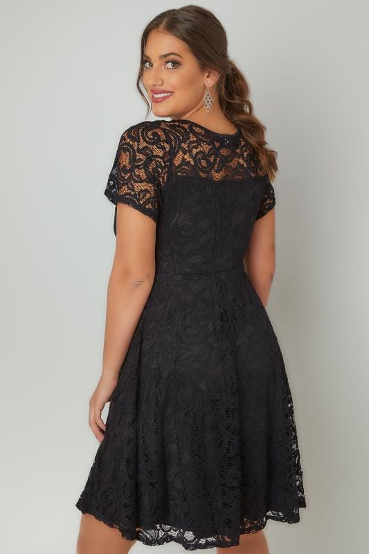 Black Lace Skater Dress With Sweetheart Bust, Plus size 16 to 36