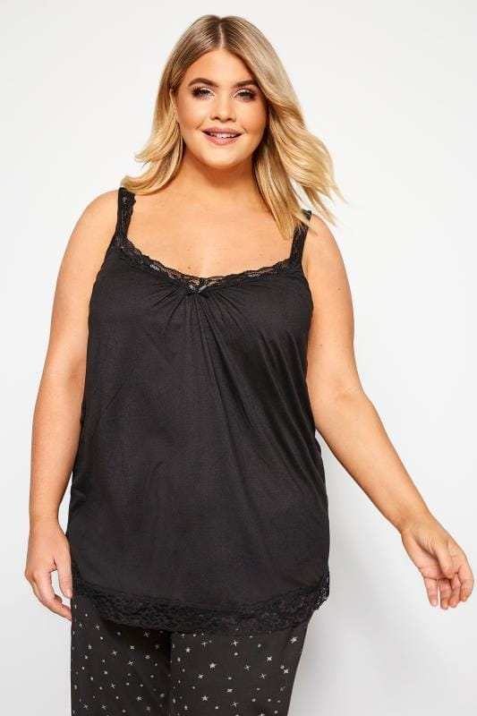 Plus Size Loungewear Black Lace Loungewear Camisole
