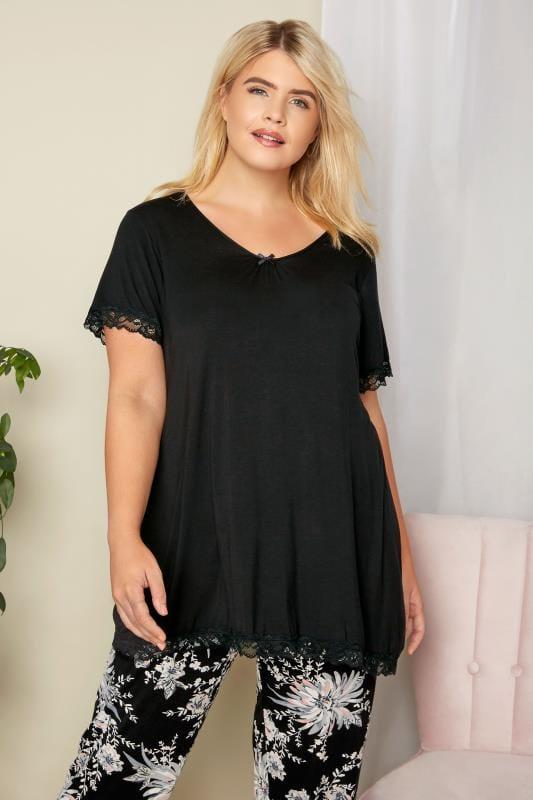 Plus Size Loungewear Black Lace Loungewear Top