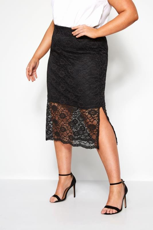 Plus Size Pencil Skirts YOURS LONDON Black Lace Pencil Skirt