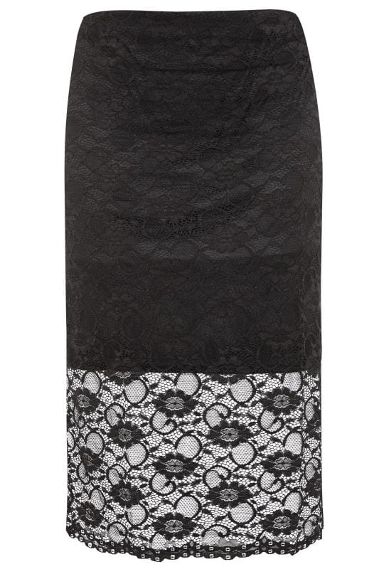 YOURS LONDON Black Lace Pencil Skirt