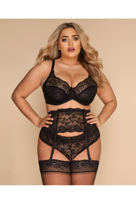 Plus Size Stockings & Hold Ups Black Lace Suspender Belt