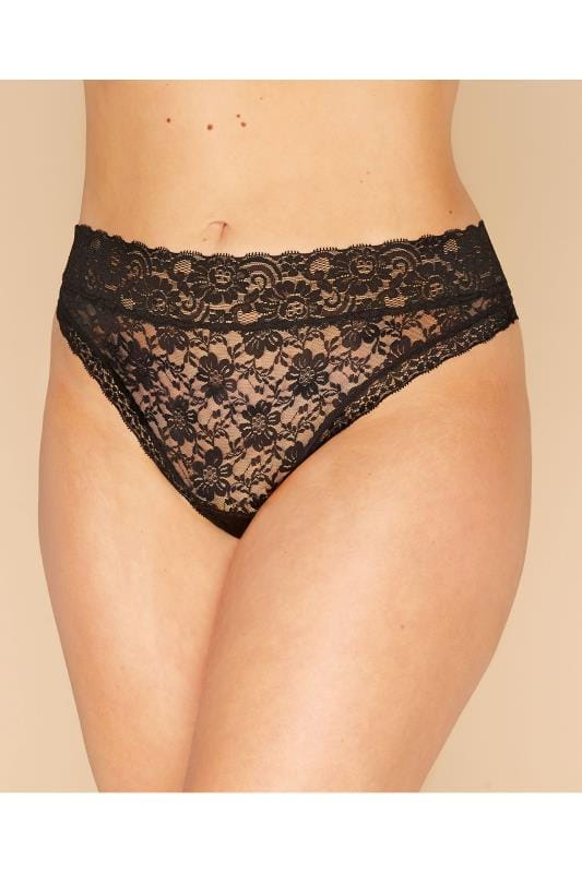 Plus Size Panties Black Lace Thong