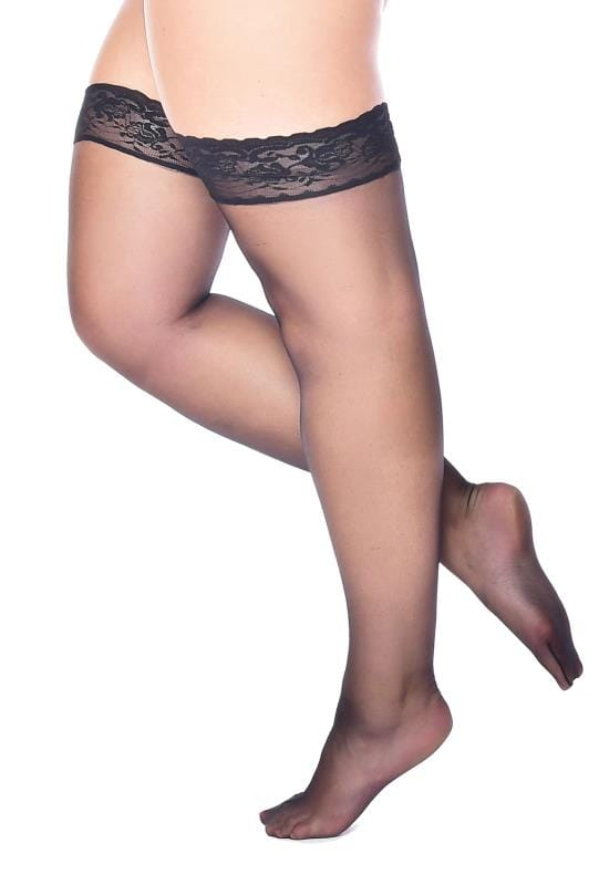 Plus Size Stockings & Hold Ups Black Lace Top Hold Ups