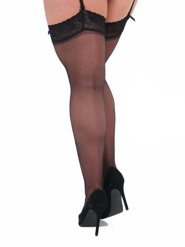 Plus Size Stockings & Hold Ups Black Lace Stockings