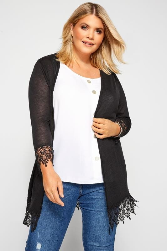 Plus Size Cardigans Black Lace Trim Cardigan