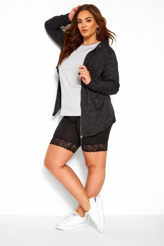 Black Lace Trim Cycling Shorts