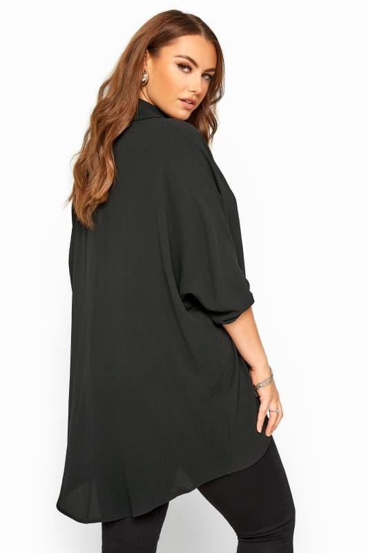 Black Lace Up Extreme Dipped Hem Shirt