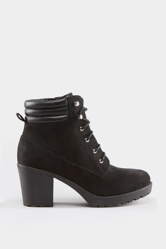 Black Lace Up Heeled Ankle Boot In Extra Wide Fit